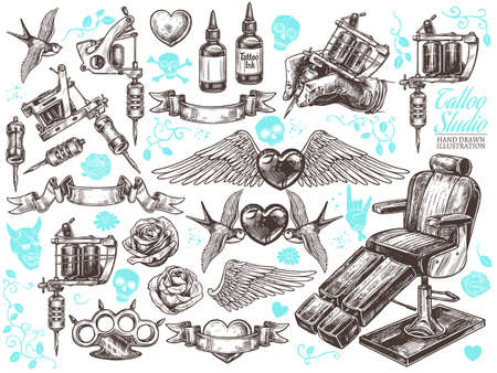 Hand drawn vector tattoo studio collection with sketch engraving illustration. Set with equipment and machines for tattooist and tattoo design Ilustração