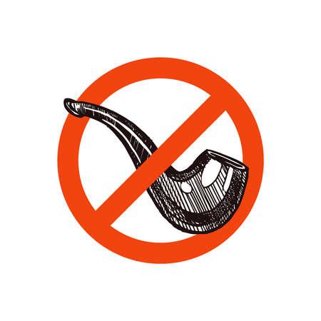 No smoking vector icon with sketch hand drawn vintage tobacco pipe