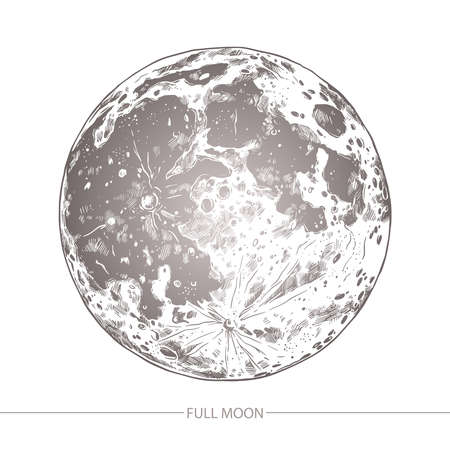 Sketch vector illustration of moon on white background. Hand drawn engraving style
