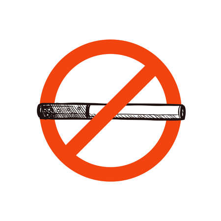 Stop smoking vector sign with sketch hand drawn cigarette