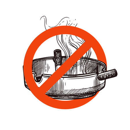 Stop smoking vector sign with sketch hand drawn cigarettes and smoke in ashtray