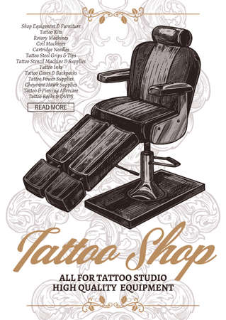 Tattoo shop vintage poster  with typography and tattoo chair in engraving vector style Ilustração