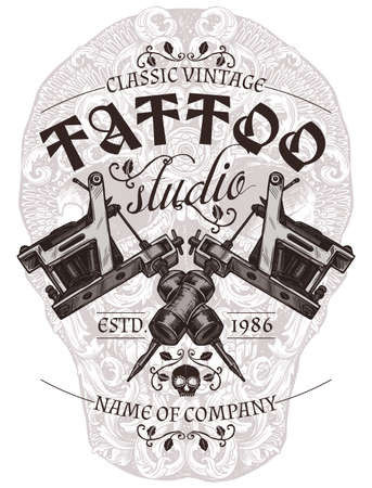 Tattoo studio vintage poster or emblem with typography in engraving vector style Ilustração