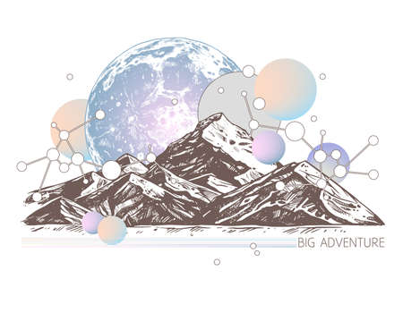 Trendy color geometric abstract illustration with sketch mountains, planet, galaxy and circles. Surreal retro art about adventure and explorering