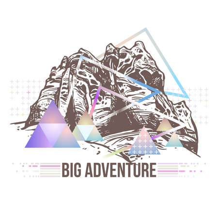 Trendy futuristic color geometric abstract illustration with sketch mountains, planet, galaxy and triangles. Surreal retro art about adventure and explorering Ilustração