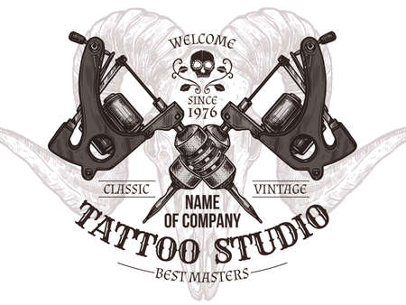 Vector tattoo emblem with machines in sketch style
