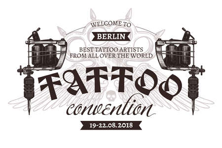 Vintage tattoo convention logo with two tattoo machines. Vector poster in hand drawn sketch style Ilustração