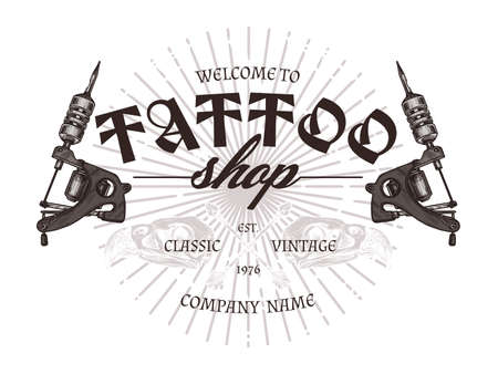 Vintage tattoo shop logo with two tattoo machines. Vector poster in hand drawn sketch style Ilustrace