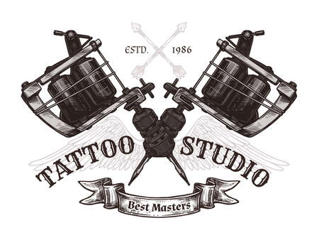 Vintage tattoo studio poster with two crossed tattoo machines. Vector poster in hand drawn sketch style Ilustração