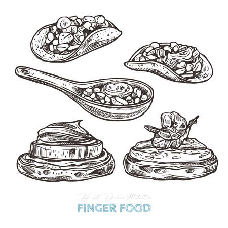 Finger food. Vector sketch hand drawn illustration of potato bites, pancake bites with cream, sauce,  shrimp, cheese and zucchini, appetizer spoons
