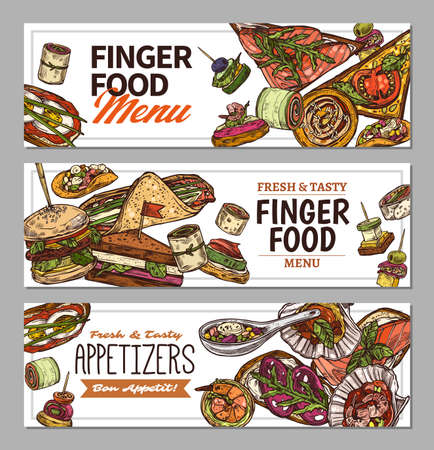 Horizontal banners with finger food design. Snacks, appetizers, mini canapes, sandwiches, seafood, hamburger, rolls. Vector illustration in flat style, colorful hand drawn sketch Illustration