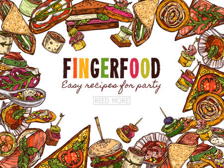 Poster with finger food background, template for website. Snacks, appetizers, mini canapes, sandwiches, seafood, hamburger, rolls. Vector illustration in flat style, colorful hand drawn sketch