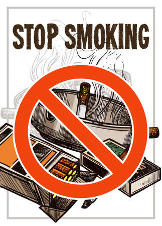 Stop smoking vector poster with sketch hand drawn crossed pack of cigarettes, ashtray, matches Illustration
