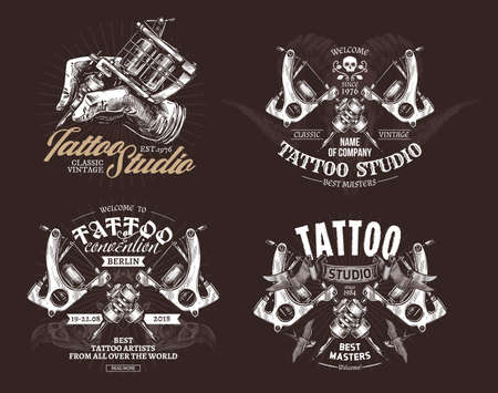 Tattoo emblems, badges and labels collection. Set of tattoo shops and salon  and sign. Vector hand drawn engraving illustrations