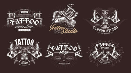 Tattoo emblems, badges and labels collection. Set of tattoo shops and salon  and sign. Vector hand drawn engraving style Illustration