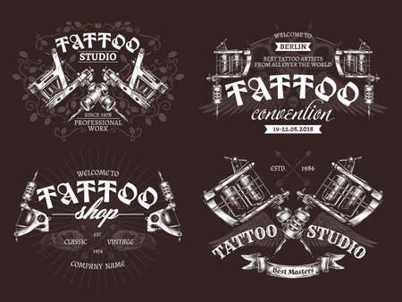 Tattoo emblems, badges and  collection. Set of tattoo shops and salon labels and sign. Vector hand drawn engraving style