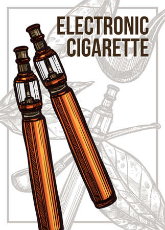 Vector color hand drawn poster with sketch electronic cigarettes. Template of design about smoking