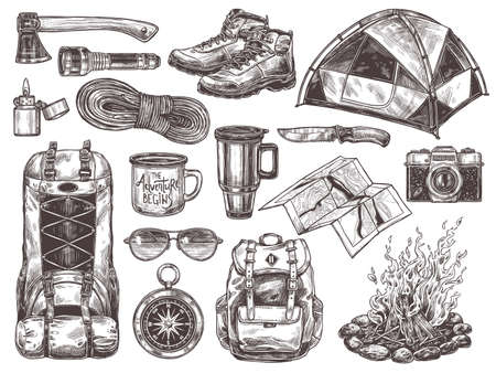 Vector hand drawn set of touristic accessories and equipment for outdoor adventure and camping. Sketch collection of illustrations knife, compass, axe, tent, bonfire, boots, backpack, cups, map, camera, sunglasses