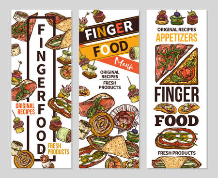 Vertical banners with finger food design. Snacks, appetizers, mini canapes, sandwiches, seafood, hamburger, rolls. Vector illustration in flat style, colorful hand drawn sketch Illustration