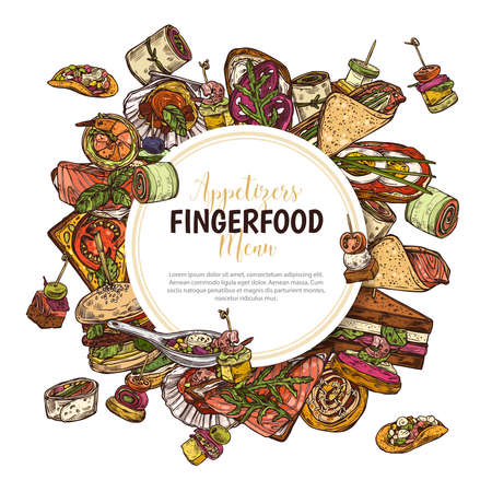 Finger food background with label, poster, design for restaurant, cafe. Snacks, appetizers, mini canapes, sandwiches, seafood, hamburger, rolls. Vector illustration in flat style, colorful hand drawn sketch