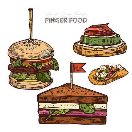 Finger food, american canape, mini hamburger, sandwiches on skewer, tacos. Restaurant, cafe snack, appetizer. Vector illustration in flat style, colorful hand drawn sketch