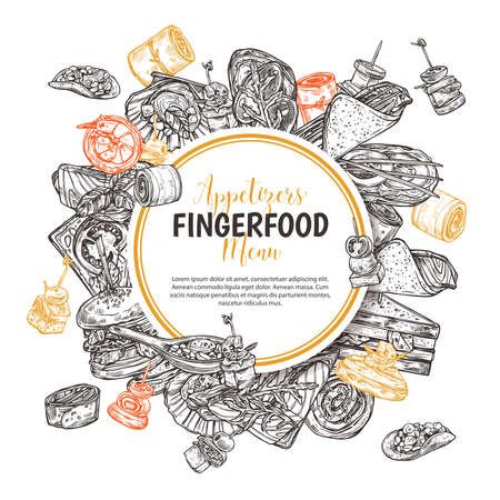 Finger food round banner, label or poster with design for restaurant, cafe. Snacks, appetizers, mini canapes, sandwiches, seafood, hamburger, rolls on backgraund. Vector monochrome illustration with hand drawn sketch