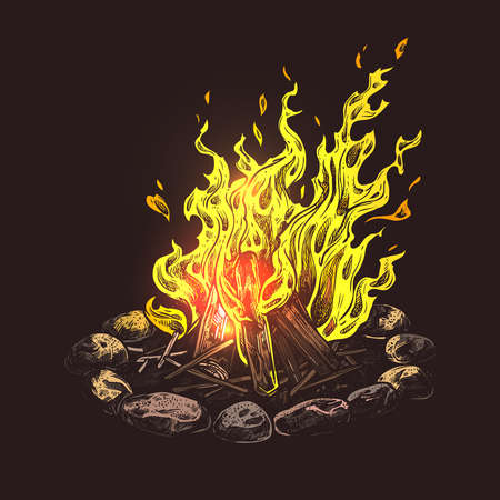 Hand drawn camping bonfire. Isolated colorful vector illustration of fire in sketch engraving style Ilustrace