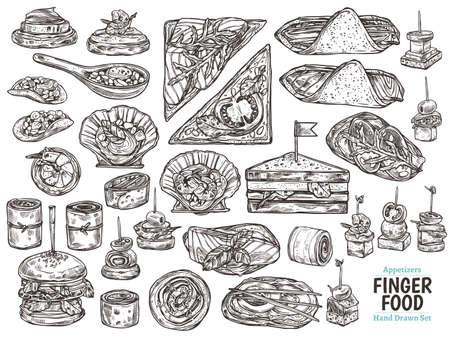 Set of restaurant, cafe finger food, snacks, appetizers, mini canapes, sandwiches, seafood, hamburger, rolls. Vector illustration in monochrome hand drawn sketch