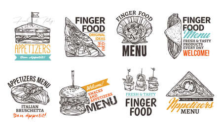 Set of square  with finger food. Design for restaurant, cafe, website. Emblems and labels with snacks and appetizers. Vector illustration of badges in hand drawn sketch Ilustrace