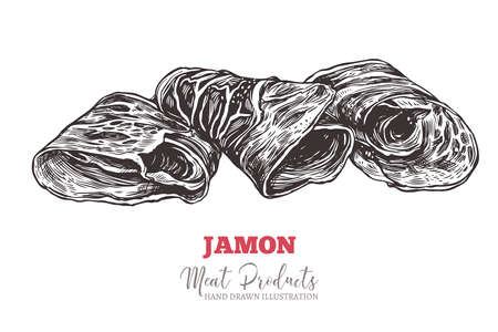 Spanish jamon, italian prosciutto crudo or parma ham in vector hand drawn style. Slices of dry cured meat sketch illustration. Farm natural product Ilustracje wektorowe