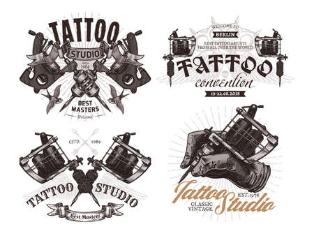 Tattoo emblems, badges and labels collection. Set of tattoo shops and salon sign. Vector hand drawn engraving illustrations Vector Illustratie