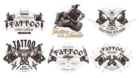 Tattoo emblems, badges and labels collection. Set of tattoo shops and salon  sign. Vector hand drawn engraving style