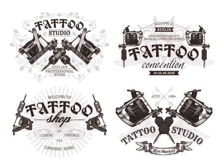 Tattoo emblems, badges  collection. Set of tattoo shops and salon labels and sign. Vector hand drawn engraving style