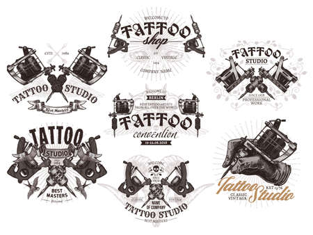 Tattoo emblems, badges   collection. Set of tattoo shops and salon labels and sign. Vector hand drawn illustrations in engraving style