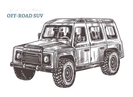 Vector off-road suv car. Hand drawn sketch automobile for bad roads, safari, extreme sport, rally and mountain adventure. Engraving illustration Ilustracje wektorowe