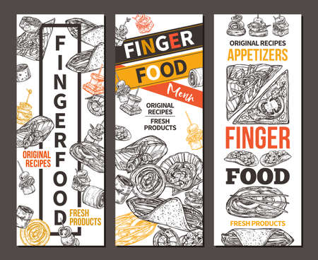 Vertical banners with finger food design. Snacks, appetizers, mini canapes, sandwiches, seafood, hamburger, rolls. Vector illustration in monochrome hand drawn sketch style Ilustrace