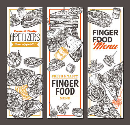 Vertical banners with finger food design. Snacks, appetizers, mini canapes, sandwiches, seafood, hamburger, rolls. Vector illustration in monochrome hand drawn sketch style Illustration