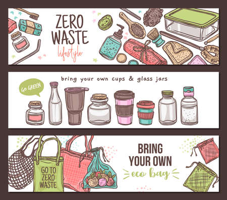 Zero waste lifestyle background, set of horizontal banners. Ecological, recycle and reused concept with eco cloth mesh bags, glass jars, bottle, container for grocery and products. Linear drawing Ilustrace