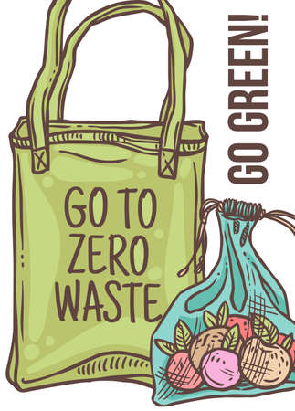 Go green, no plastic and pollution poster. Zero waste shopping set. Eco friendly lifestyle concept. Doodle linear hand drawn sketch of reusable and mesh market bags