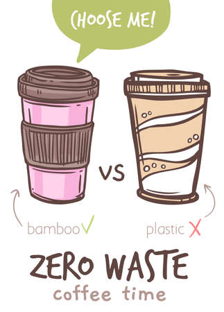 Reusable zero waste takeaway coffe mug infographic, bamboo cup vs disposable plastic. Eco lifestyle rules, less pollution poster. Vector sketch hand drawn doodle illustration