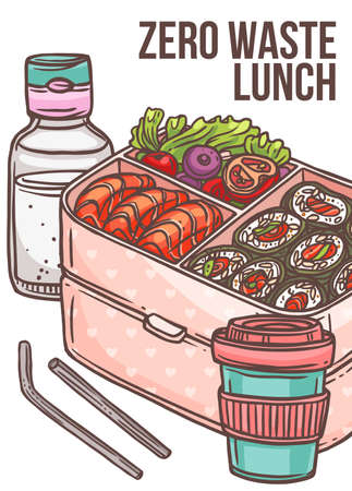 Zero waste lunch poster with bento box with sishi and vegetables, reusable bamboo coffee cup, straw and glass bottle with water. Go green, no pollution and eco friendly concept. Cute vector illustrati