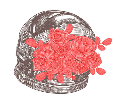 Astronaut helmet with flowers. Space cosmonaut equipment with roses bouquet. New retro creative concept, mixed technology and botanical nature. Hand drawn vector sketch illustration in etching style