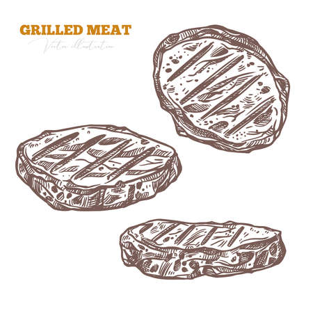BBQ pork or beef meat product, grilled barbecue food. Roasted steak set. Vector hand drawn sketch illustrations Ilustrace
