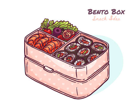 Bento box with takeaway ready food, japanese lunchbox and foodstyling with sushi, fish salmon and vegetables. Vector cute kawaii hand drawn illustration. Zero waste to go food in container