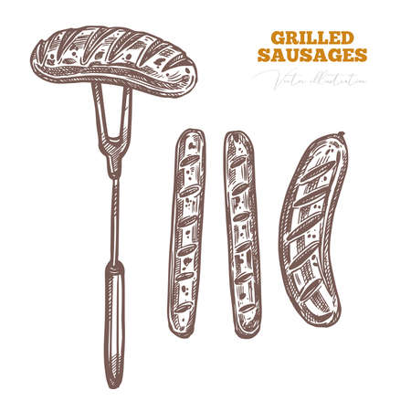 Grilled barbecue german sausages, fried frankfurters and meat pork product for BBQ. Roasted bratwurst on fork. Food sketch vector drawing illustartion Ilustrace