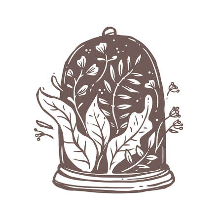 Flowers, plants, leaves and foliage under glass cap or tray. Symbol of safe, save, ecology and environmental conservation, florarium. Creative and romantic concept for logo, emblem in drawn style