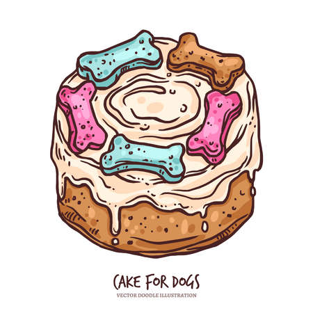 Cake for dog for anniversary or happy birthday. Canine food, dessert with bone, cupcake, cookie and cream. Puppy holiday. Sketch vector doodle hand drawn illustration