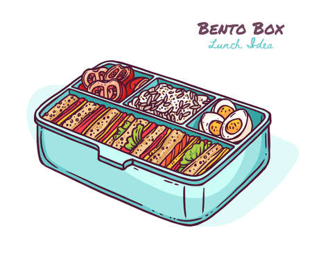 Japanese bento box with meal or healthy snacks. Finger food idea in zero waste container. Tomatoes, rice, eggs, sandwich. Takeaway appetizer or lunch. Vector sketch doodle illustration