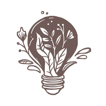 Lamp or light bulb with flowers, plants, leaves and foliage. Symbol and sign of idea, creativity and ecology. Emblem concept for illumination, solution, brainstorm. Sketch hand drawn doodle illustrati