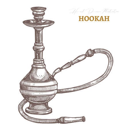 Hookah isolated object. Vector hand drawn sketch illustration